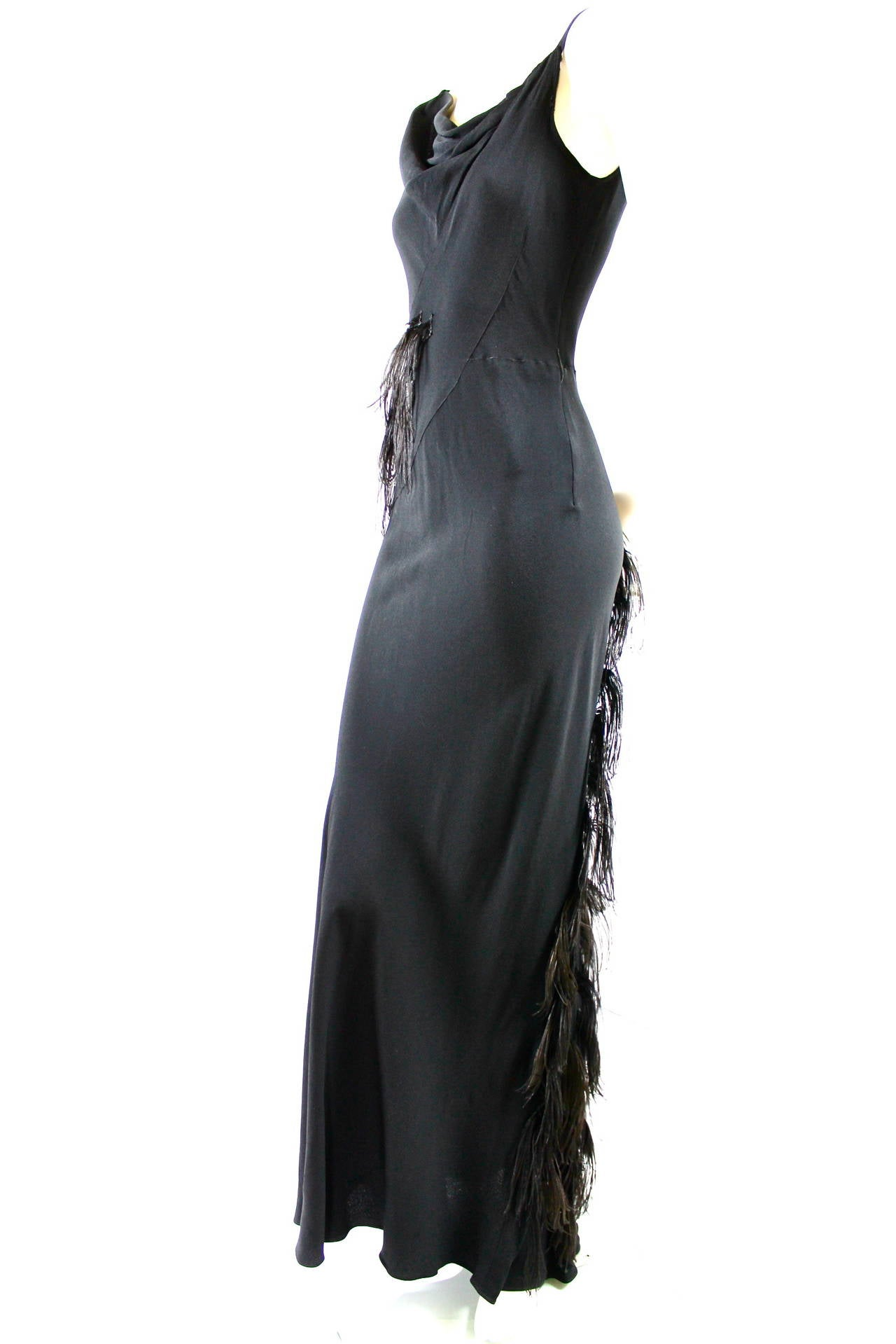 Paquin Couture 1930s Bias Satin Back Crepe and Ostrich Feather Gown 3