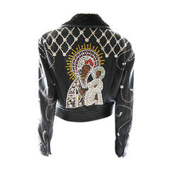Gianni Versace Couture 1991 Madonna and Child Runway Leather Jacket