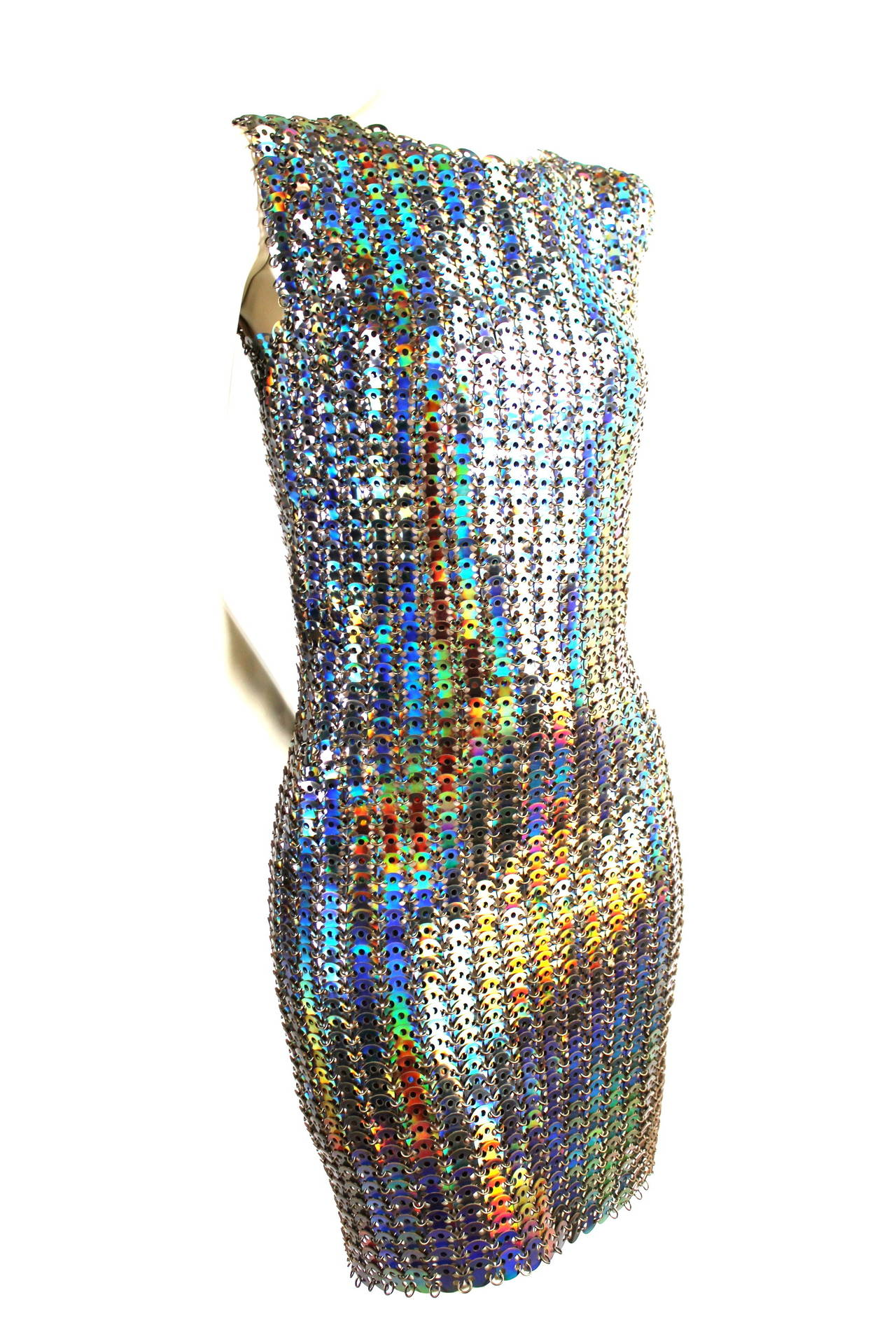 Paco Rabanne Polyurethane Holographic Disc Runway Dress