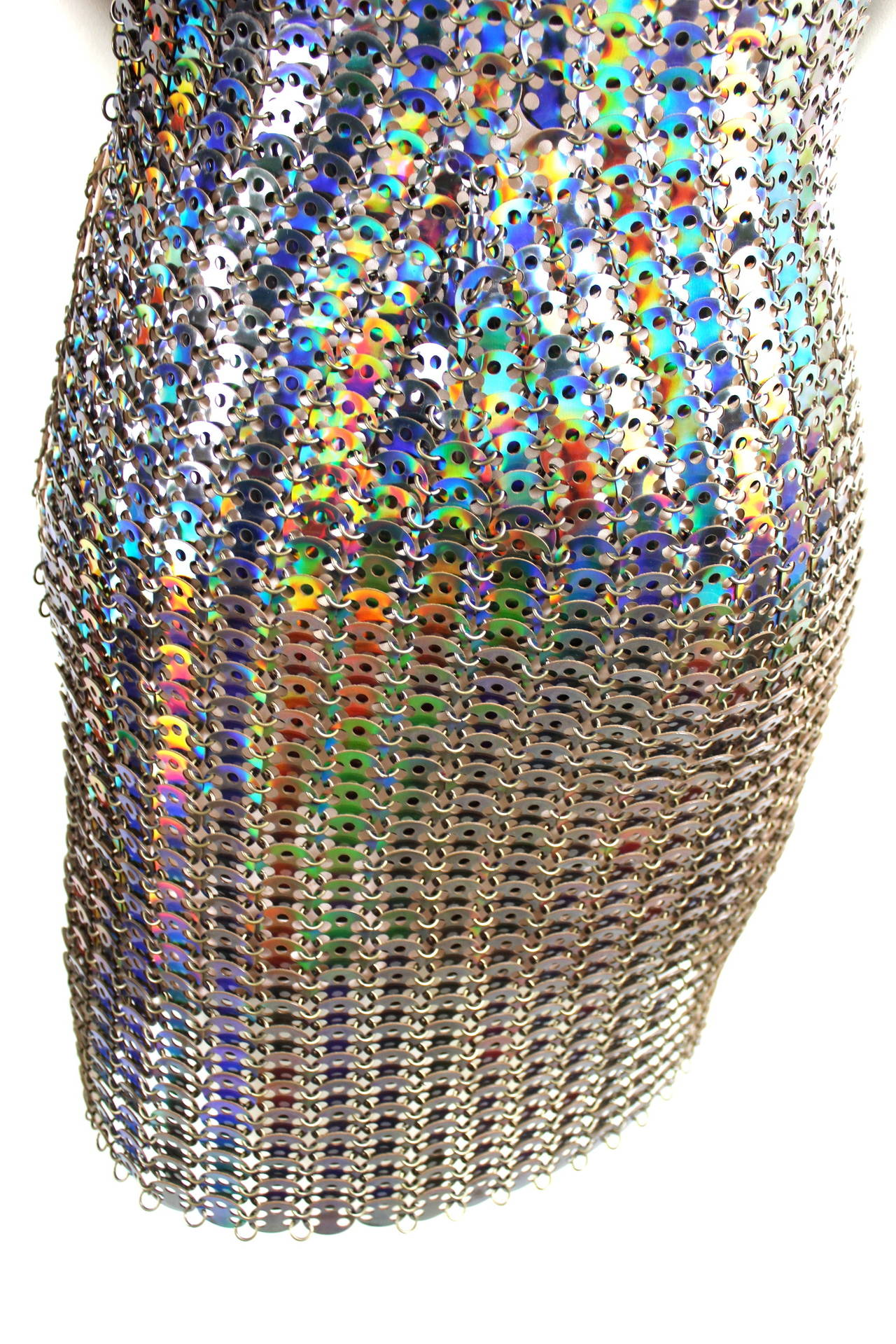 Paco Rabanne Holographic Runway Disc Dress For Sale 2