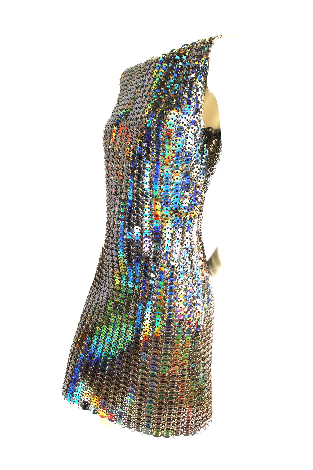 Black Paco Rabanne Holographic Runway Disc Dress For Sale