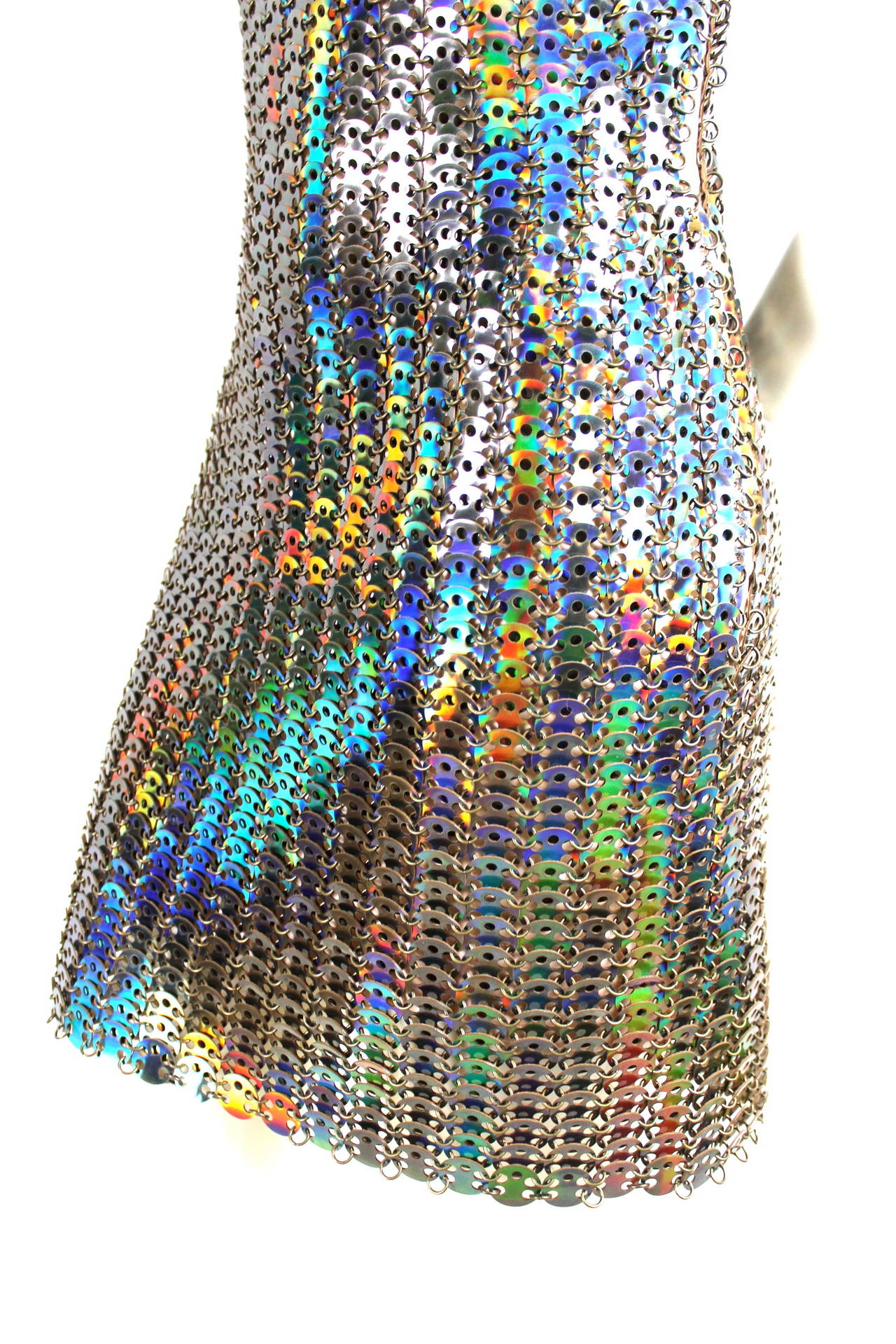 Paco Rabanne Holographic Runway Disc Dress For Sale 3