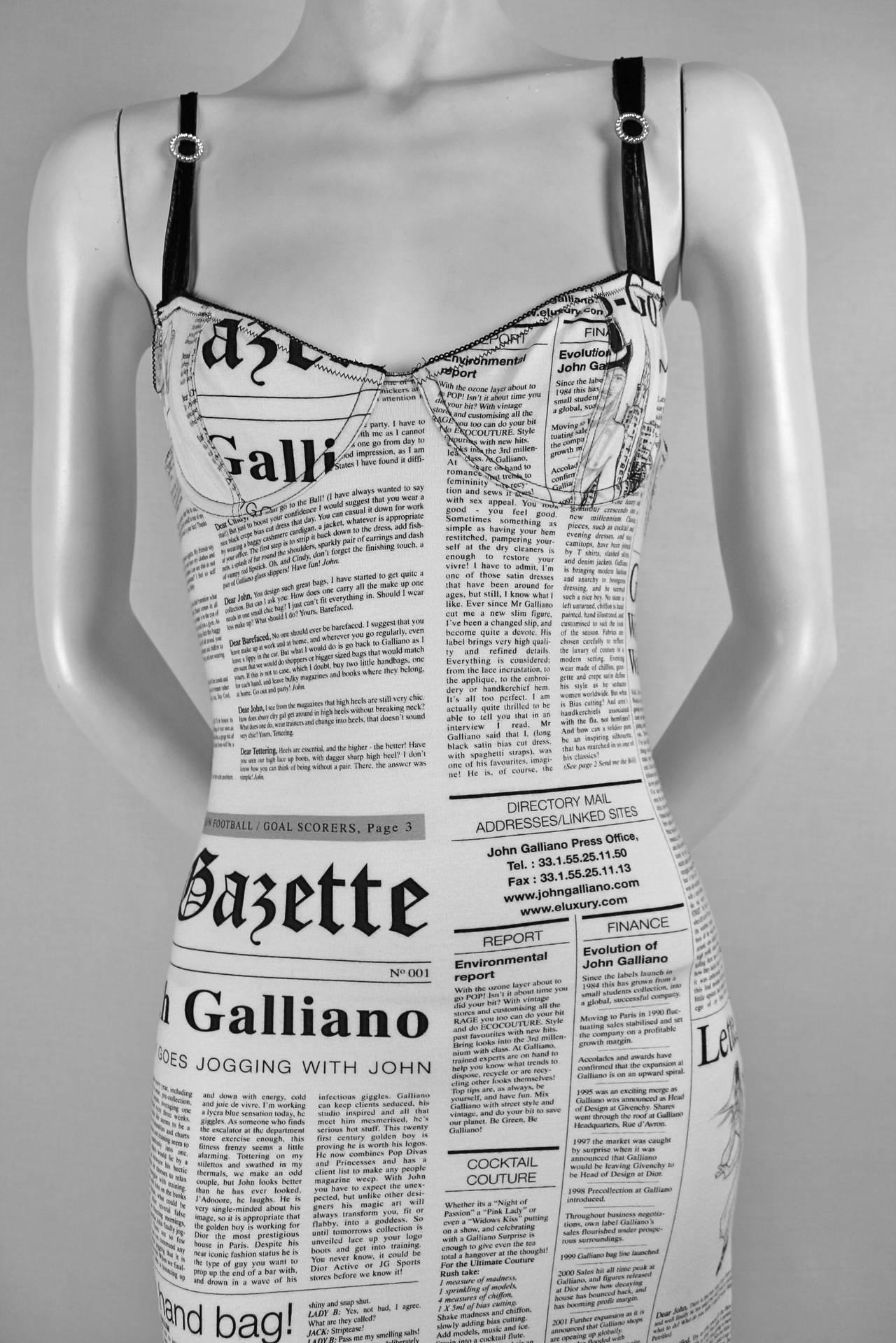 John Galliano Newspaper Print Dress At 1stdibs