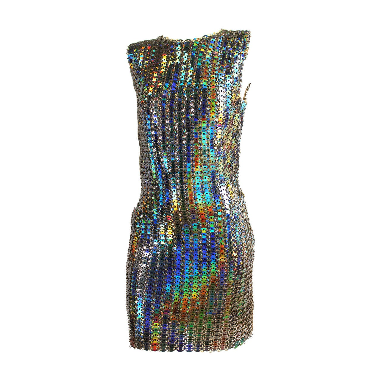 Paco Rabanne Holographic Runway Disc Dress For Sale