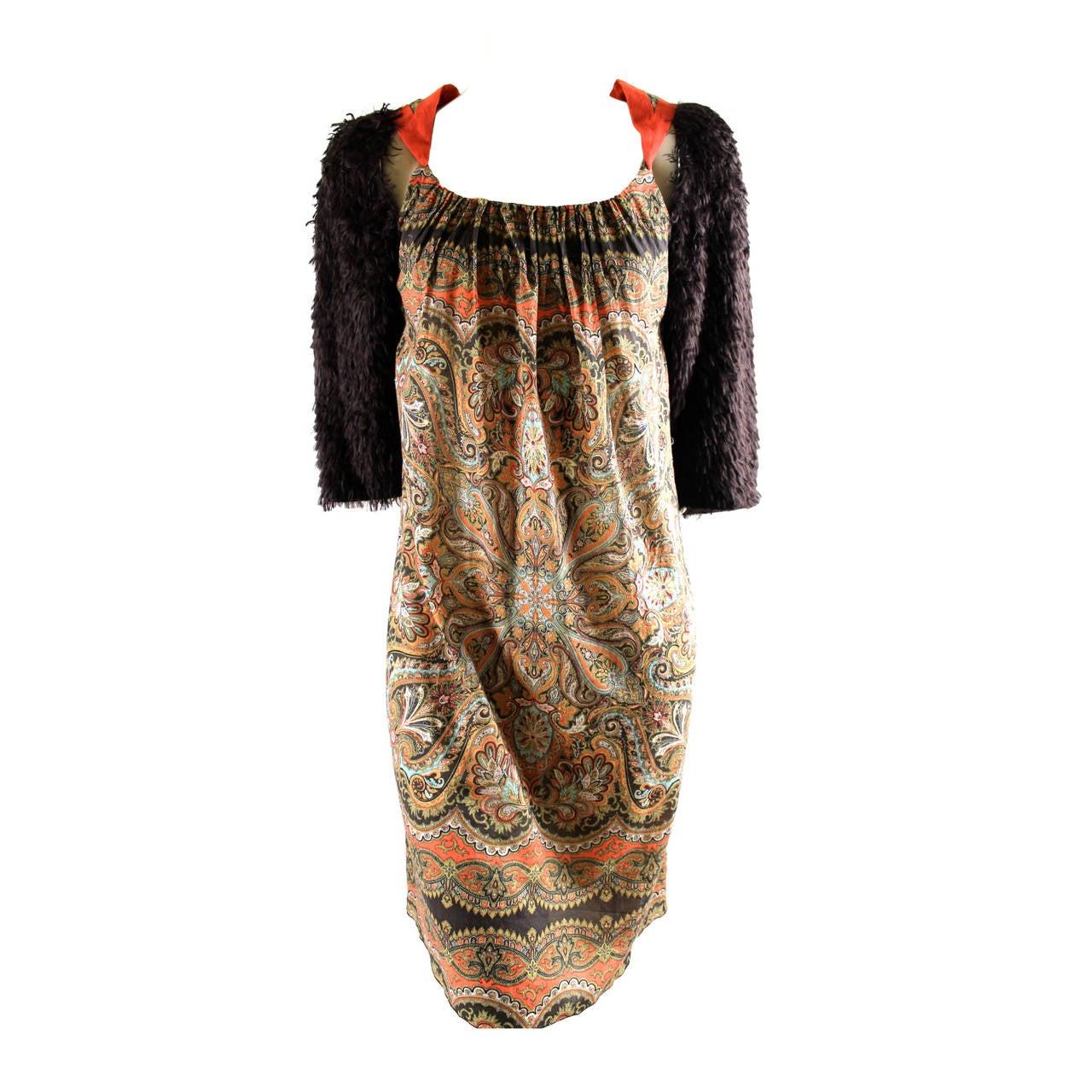 Undercover Silk Fur Sleeve Dress