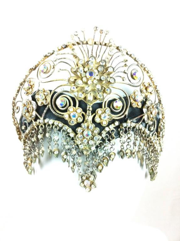 Vintage Ornate Scroll Work Claw Set Crystal Head Dress For Sale 3