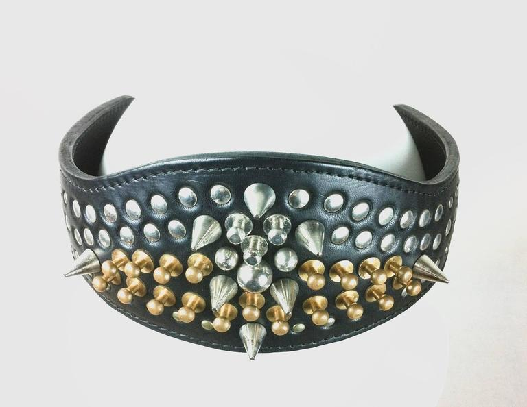 Comme des Garcons / Fleet Ilya AD 2013 Leather Studded Head Band In Excellent Condition For Sale In Bath, GB