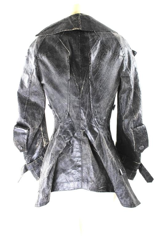 Junya Watanabe Distressed Faux Leather Admiral's Coat AD 2005 3