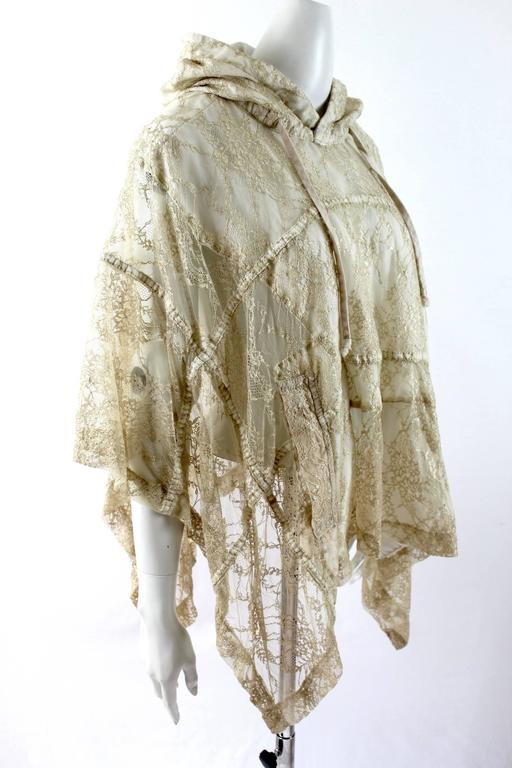 Comme des Garcons AD 2011 Gold Lace Hooded Poncho 4