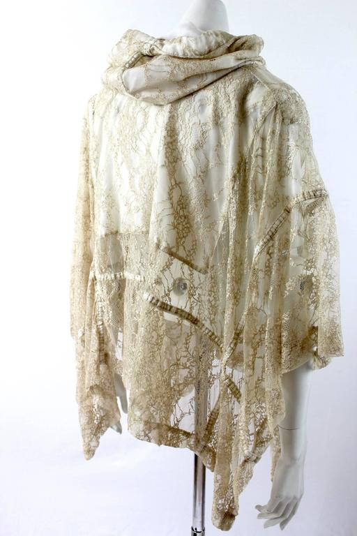 Comme des Garcons AD 2011 Gold Lace Hooded Poncho 5