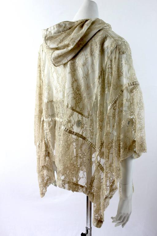 Comme des Garcons AD 2011 Gold Lace Hooded Poncho 6