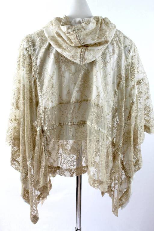 Comme des Garcons AD 2011 Gold Lace Hooded Poncho 7