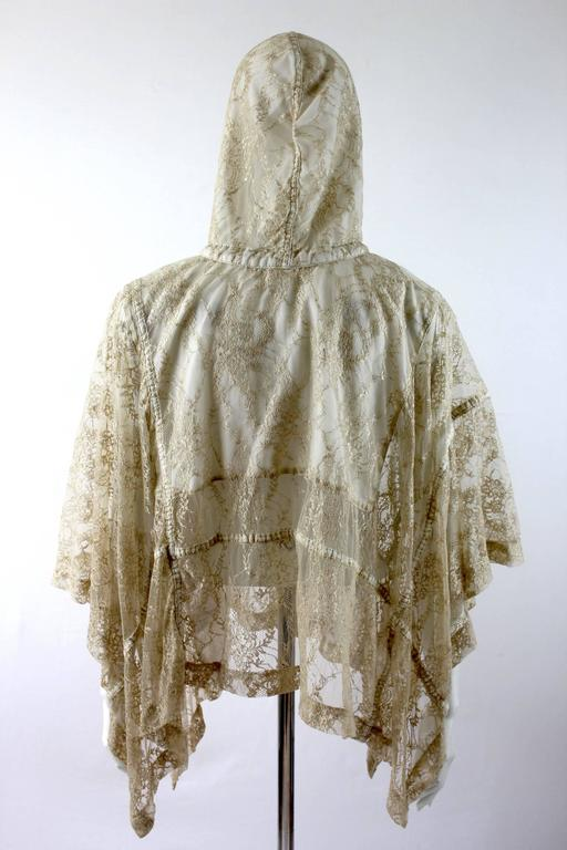 Comme des Garcons AD 2011 Gold Lace Hooded Poncho 8