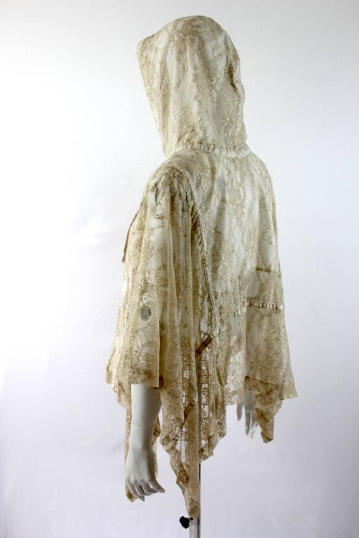 Comme des Garcons AD 2011 Gold Lace Hooded Poncho 9