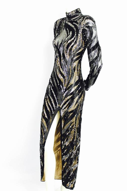 Bob Mackie Monochrome Beaded Dress