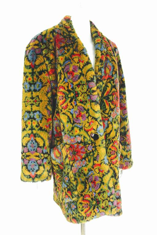Guy Laroche 1980s Faux Fur Tapestry Design Coat 2