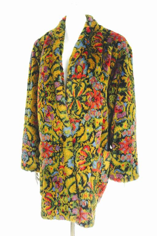 Guy Laroche 1980s Faux Fur Tapestry Design Coat 3