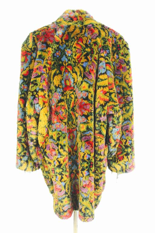 Guy Laroche 1980s Faux Fur Tapestry Design Coat 4