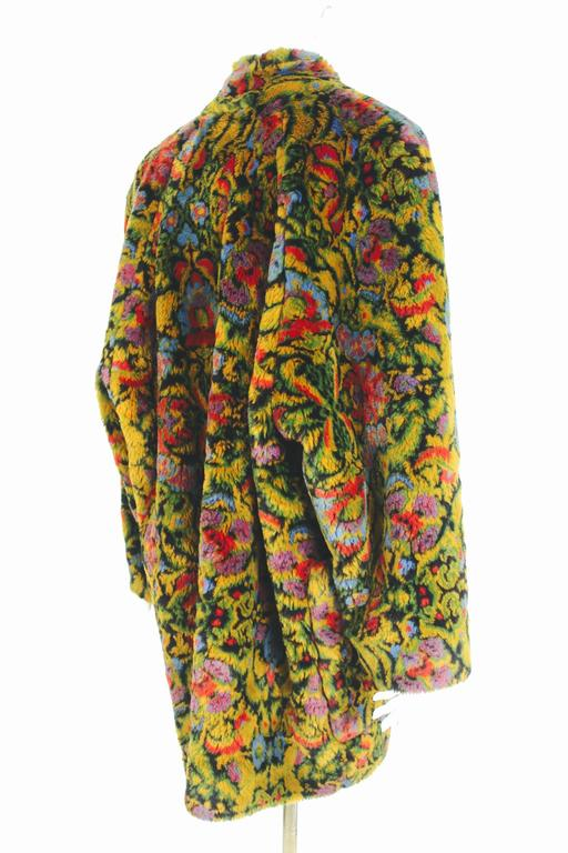 Guy Laroche 1980s Faux Fur Tapestry Design Coat 5