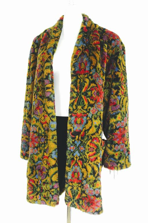 Guy Laroche 1980s Faux Fur Tapestry Design Coat 6