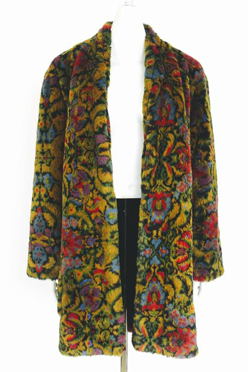 Guy Laroche 1980s Faux Fur Tapestry Design Coat 7