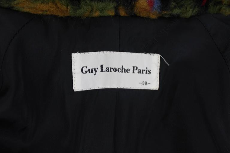 Guy Laroche 1980s Faux Fur Tapestry Design Coat 10