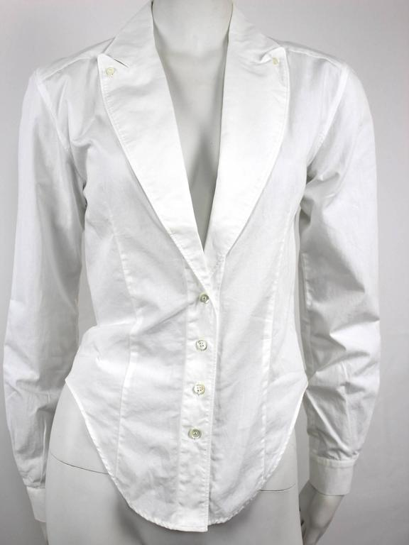 Gray Alexander McQueen 1990's Fitted Lapel Blouse For Sale