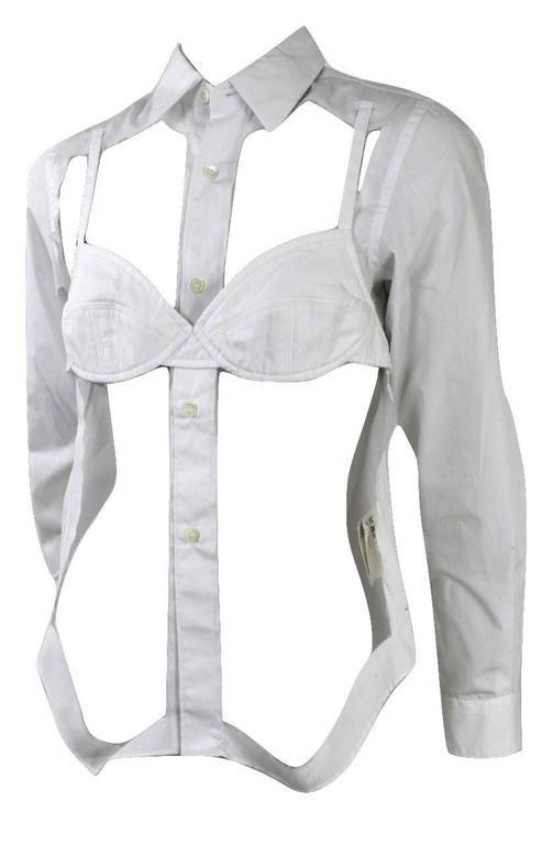 Gray Comme des Garcons 2008 Collection Runway Bra Blouse For Sale