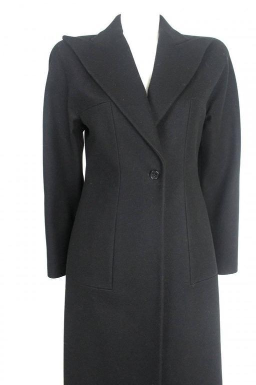 Black Alexander McQueen 1990's Tailored Runway Wool Coat For Sale
