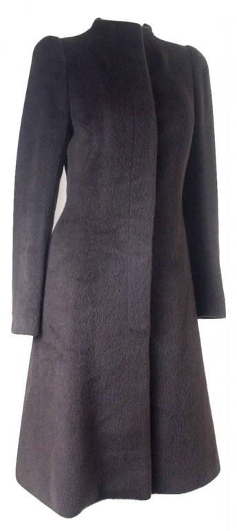 Vintage Alexander McQueen Mohair and Alpaca Coat Shown on runway with beaded panels Labelled size 38 Excellent condition
