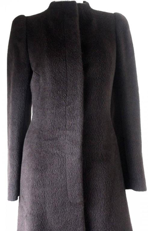 Black Alexander McQueen 2000 Collection Mohair and Alpaca Coat For Sale