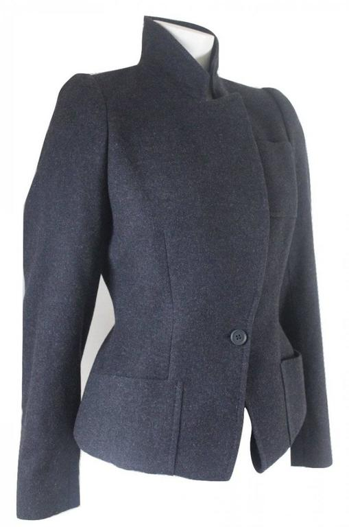 Alexander McQueen 2000 Collection Wool and Cashmere Runway Jacket Very unusual design, jacket made as normal length jacket and then turned up to create a form of peplum. As shown in pics pockets extend under hem to inside the jacket. This is