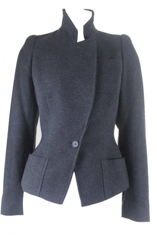Black Alexander McQueen 2000 Collection Wool and Cashmere Runway Jacket For Sale