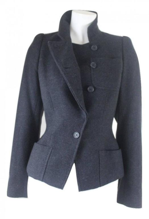 Alexander McQueen 2000 Collection Wool and Cashmere Runway Jacket For Sale 4