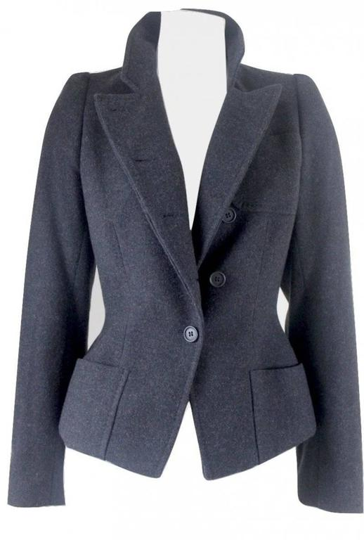 Alexander McQueen 2000 Collection Wool and Cashmere Runway Jacket For Sale 2