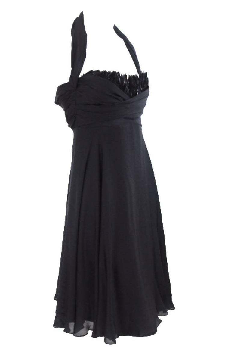 Black Sophie Sitbon Silk and Feather Dress For Sale
