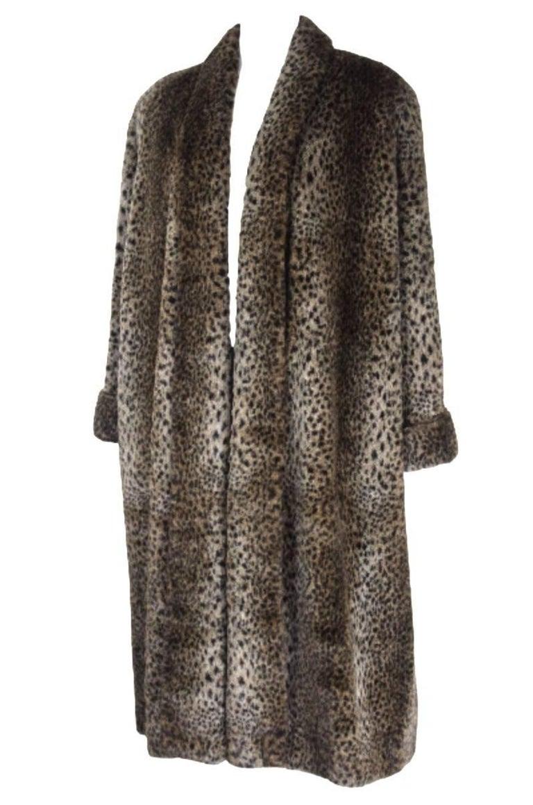 Black Comme des Gracons 1990s Faux Fur Animal Print Coat For Sale