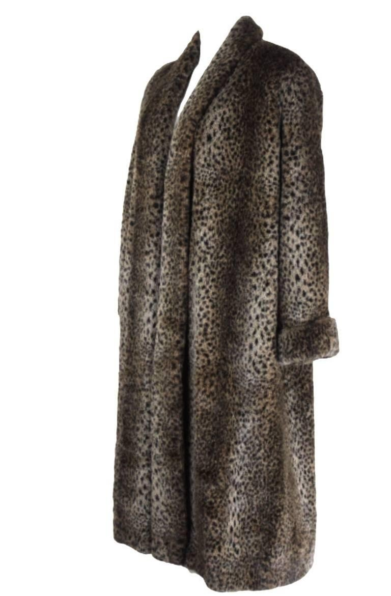 Comme des Gracons 1990s Faux Fur Animal Print Coat In Excellent Condition For Sale In Bath, GB