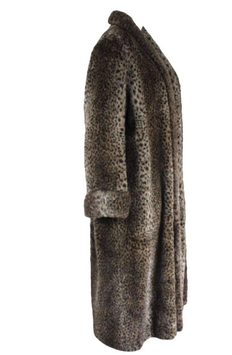 Comme des Gracons 1990s Faux Fur Animal Print Coat For Sale 4