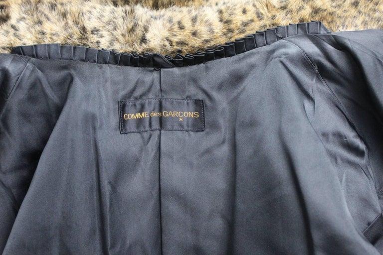Comme des Gracons 1990s Faux Fur Animal Print Coat For Sale 5
