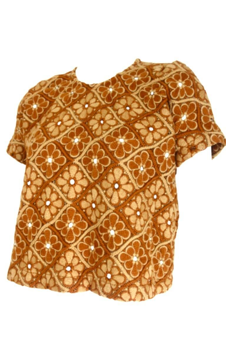 Brown Comme des Garcons 1999 Collection Wool Lace Short Sleeve Top For Sale