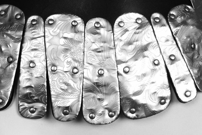 Vintage Comme des Garcons Hammered Metal Belt Fits waist 26 inch to 33 inches Extra hole punched to allow for 26 inch waist Unusual piece Unsure of date of release