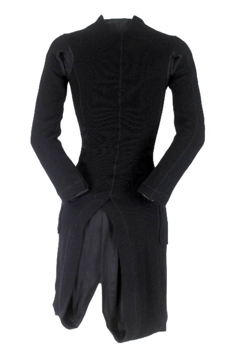 Black Junya Watanabe CDG 2007 Collection Loose Linning Wool Knit Dress For Sale