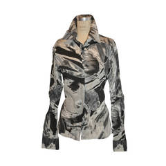 "Roberto Cavalli ""Shades of Black & White"" Cotton Blouse"