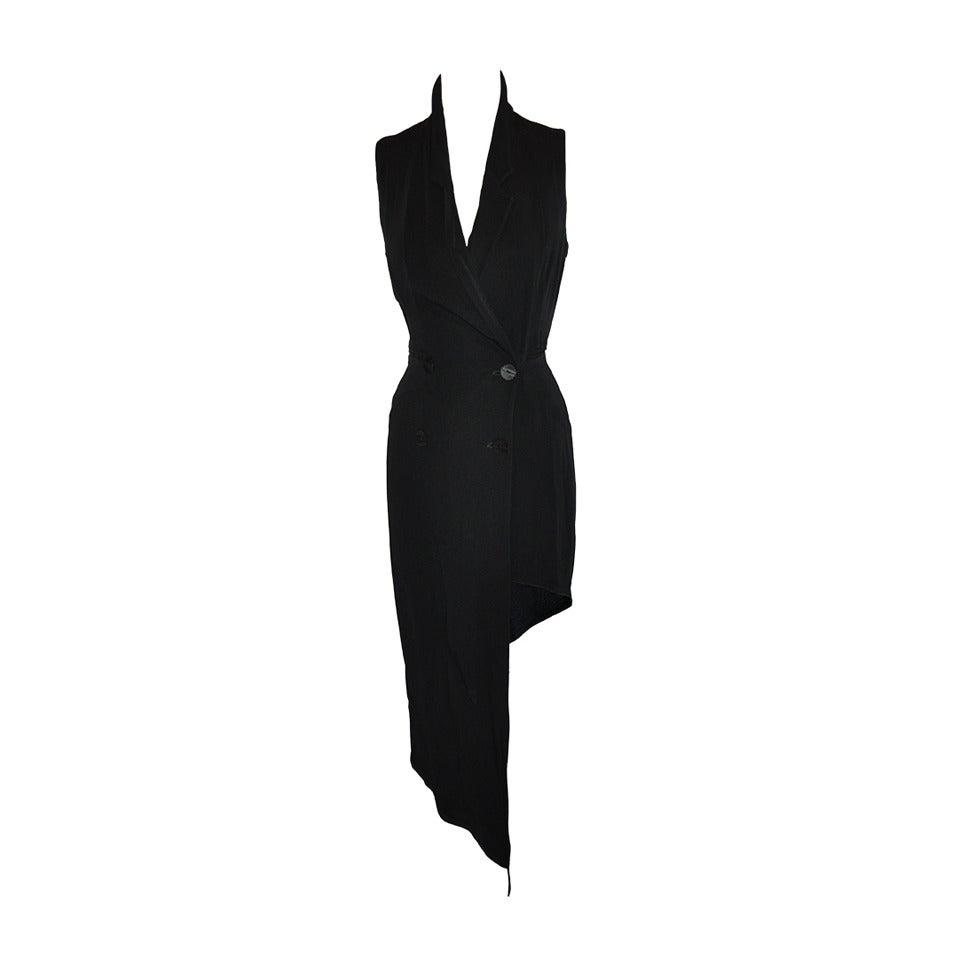 Ozbek Black Asymmetrical Double Breasted Sleeveless Dress 1