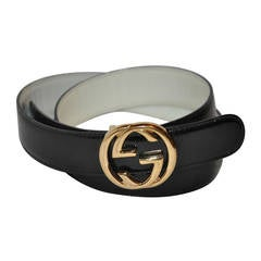 "Gucci Signature ""GG"" Gold Hardware with Black Calfskin Belt"