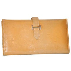 "Hermes Textured Tan Billfold Wallet with Signature ""H"" Gold Hardware"
