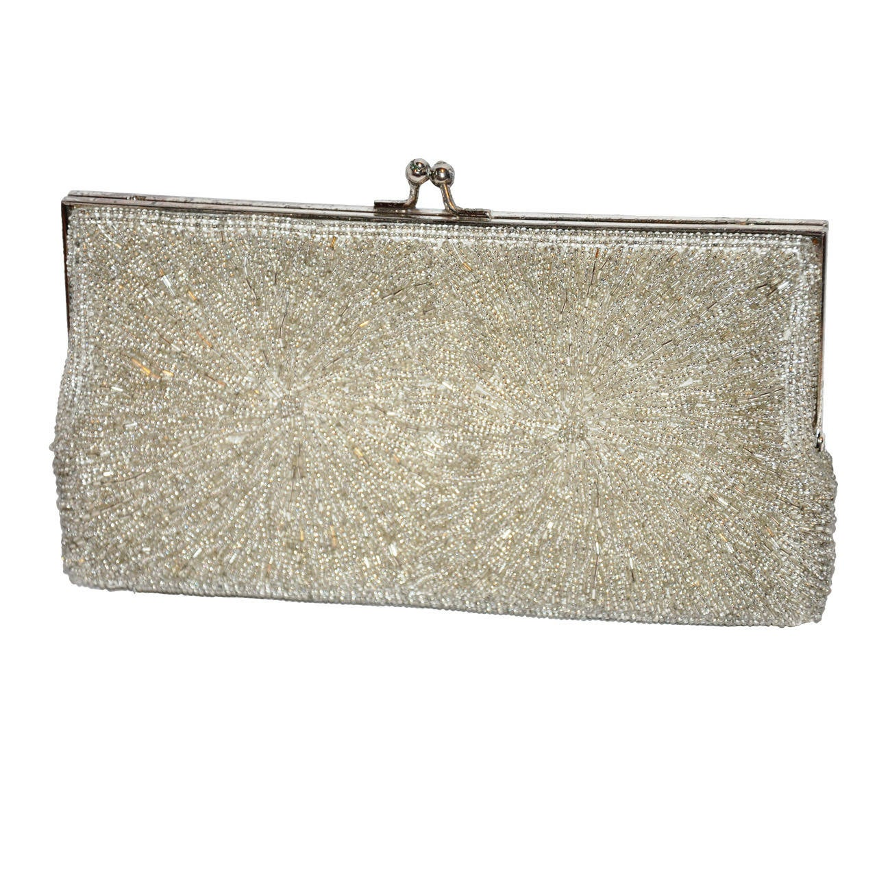 Chanel Micro Seed Glass Beaded Evening Purse For Sale