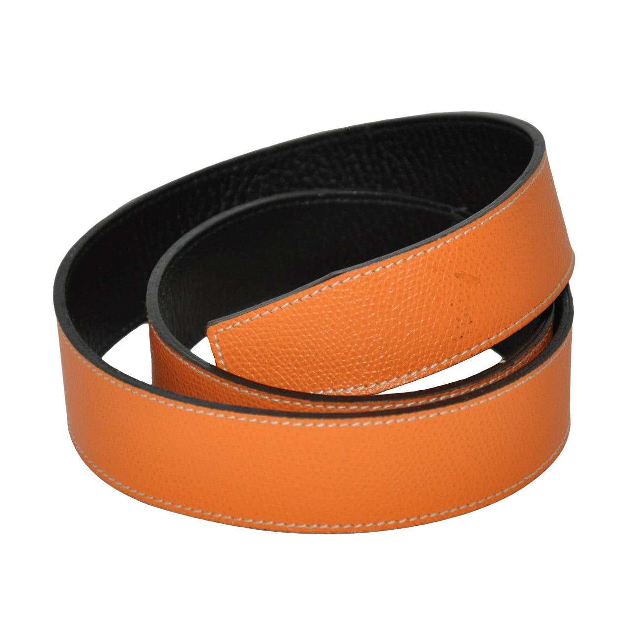 Hermes Textured Tangerine with Black Calfskin Belt for Inter-Changable Buckle