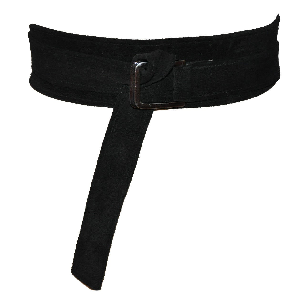 Yves Saint Laurent Double-Layer Black Suede Wrap Belt 1